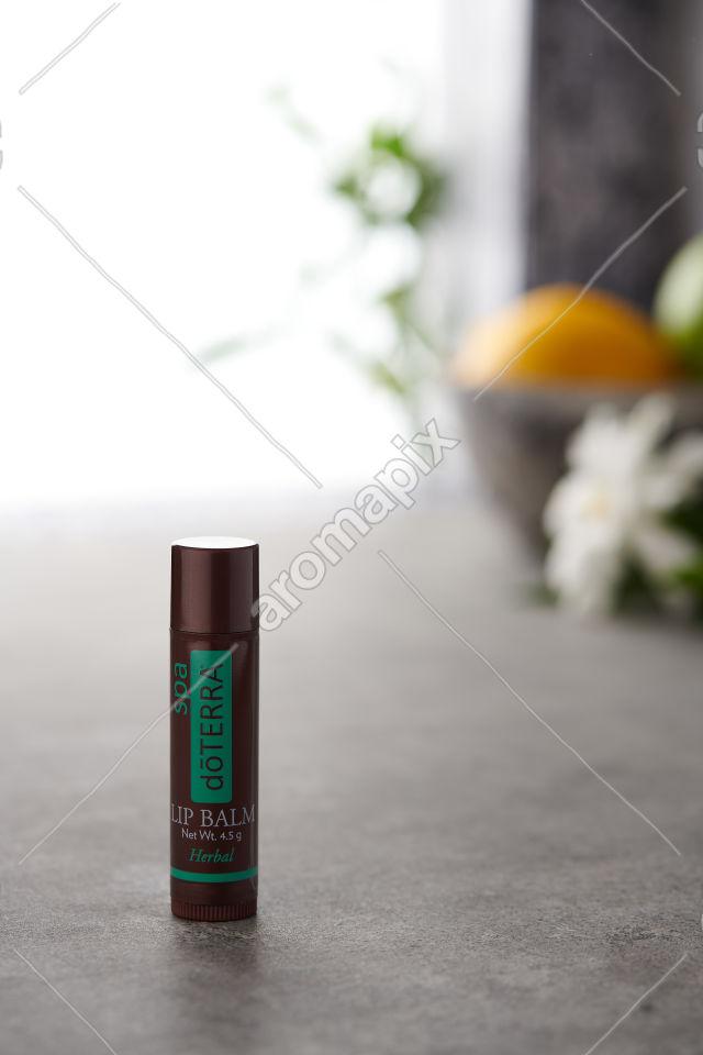 doTERRA Herbal Lip Balm on a bench