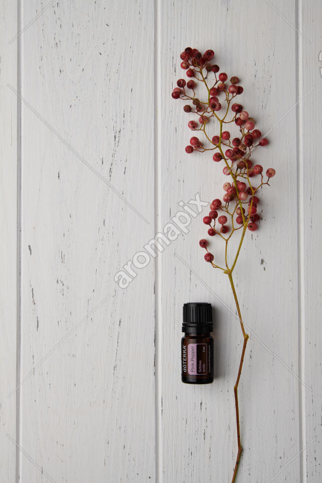 doTERRA Pink Pepper and pink peppercorn on white background
