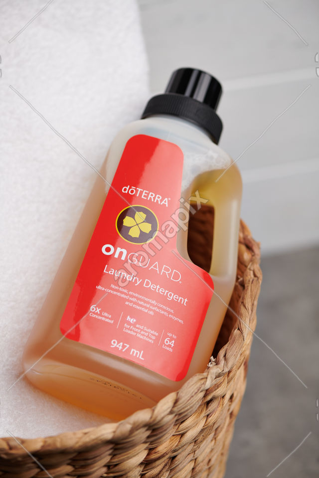 doTERRA On Guard Laundry Detergent in a basket