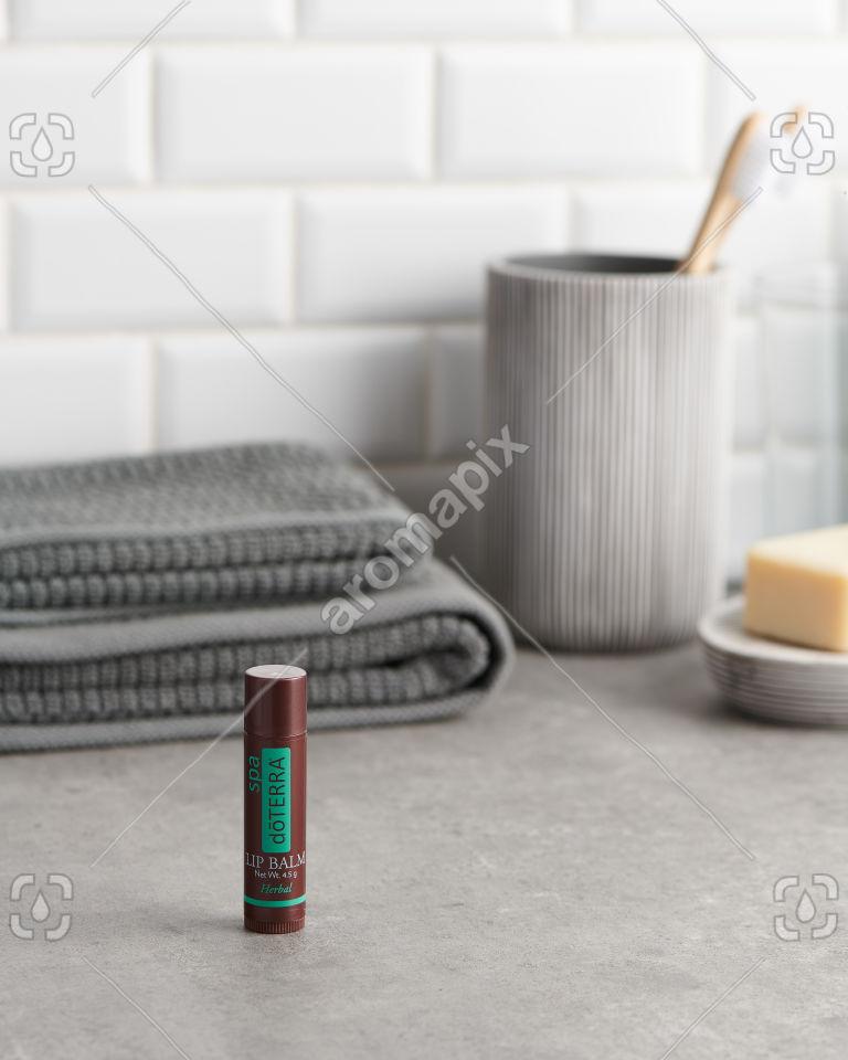doTERRA Spa Herbal Lip Balm in the bathroom