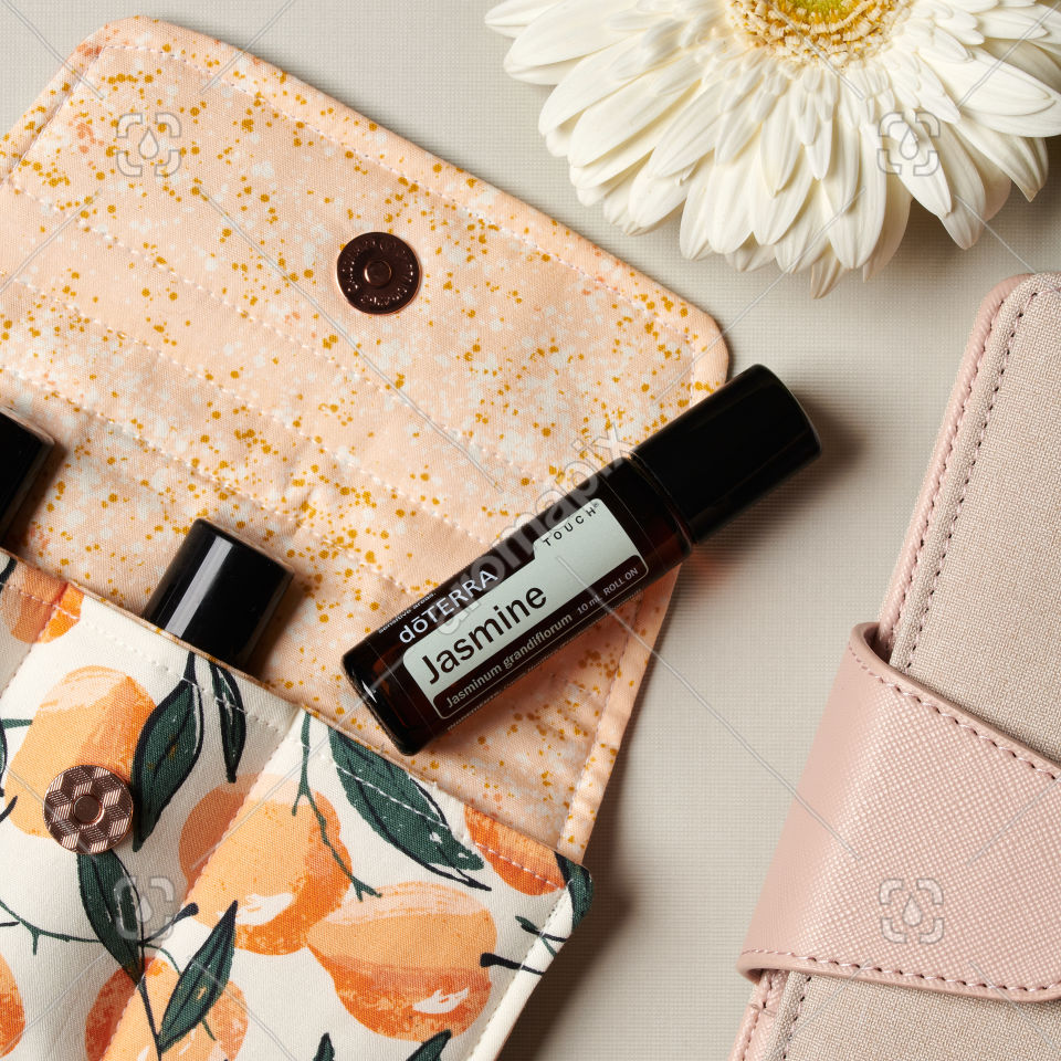 doTERRA Jasmine Touch and accessories on white