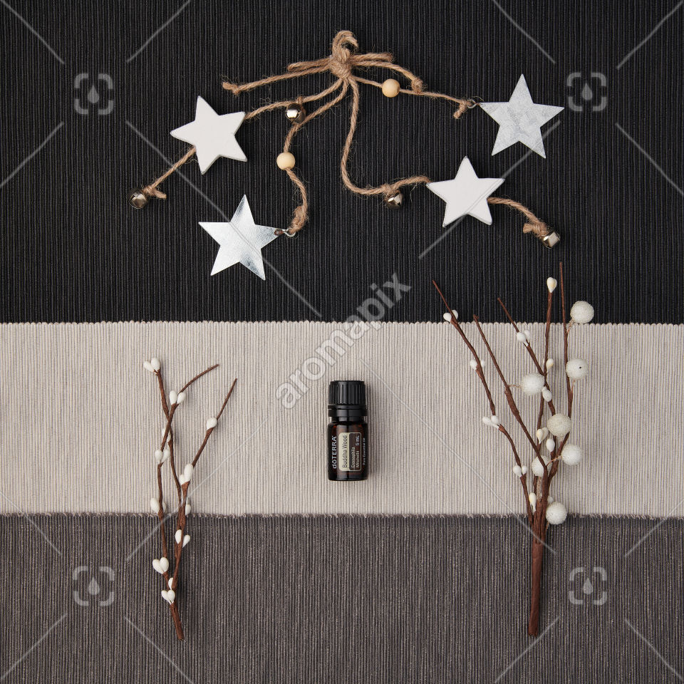 doTERRA Buddha Wood with holiday decorations on a textured background.