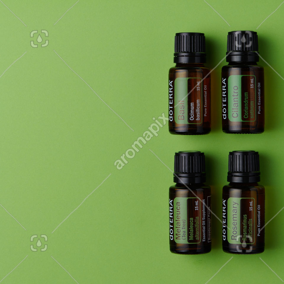 doTERRA products on green background
