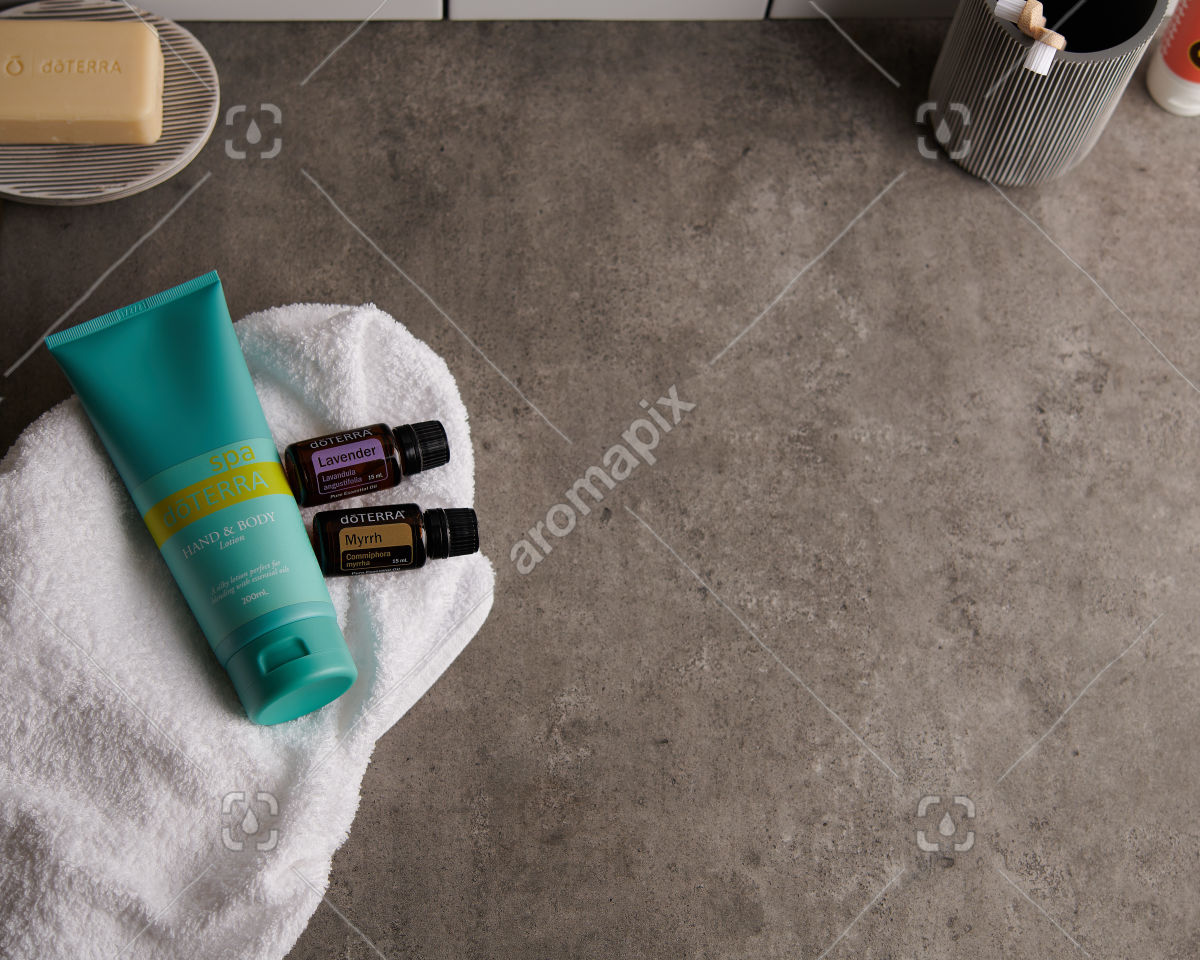doTERRA Spa Hand and Body Lotion with Lavender and Myrrh essential oils on white