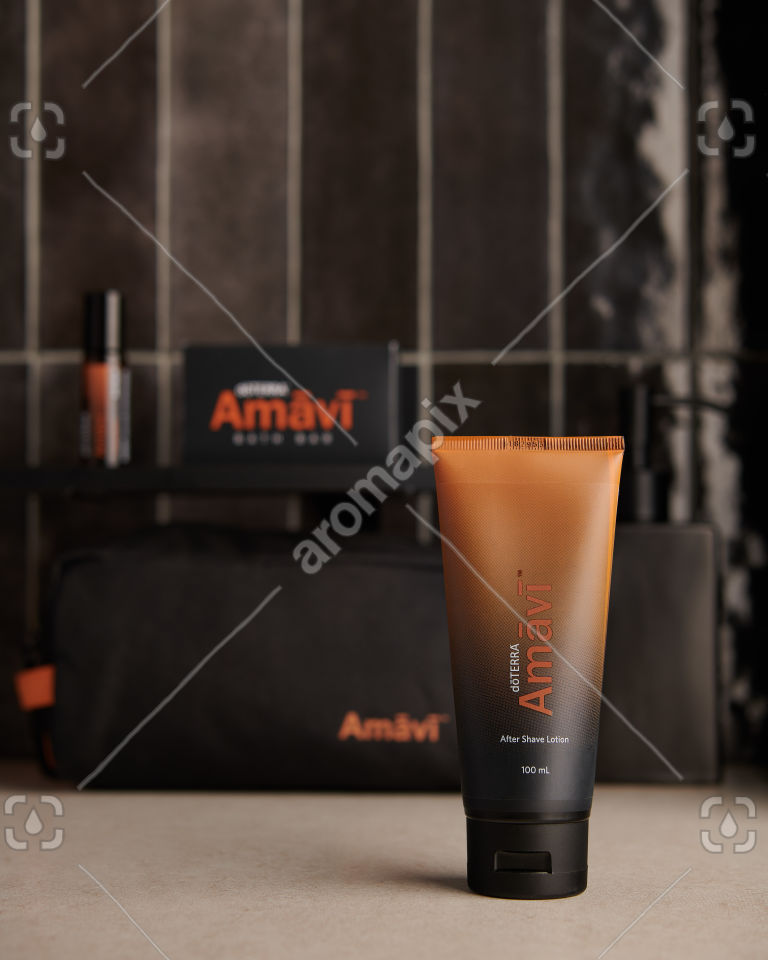 doTERRA Amavi After Shave Lotion on bathroom bench