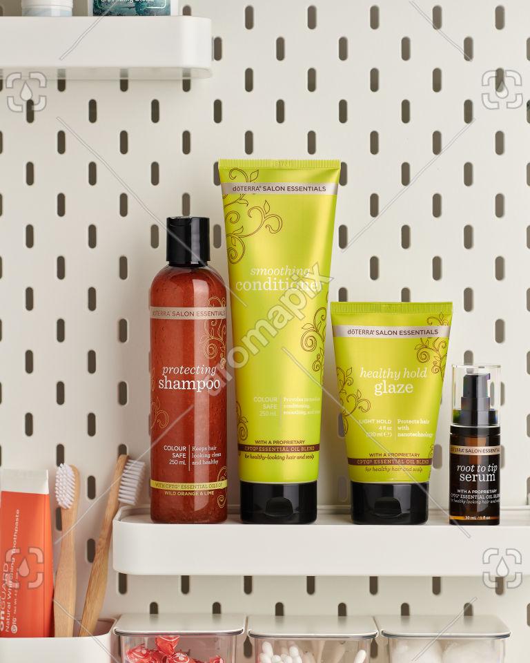 doTERRA Salon Essentials products on a bathroom shelf