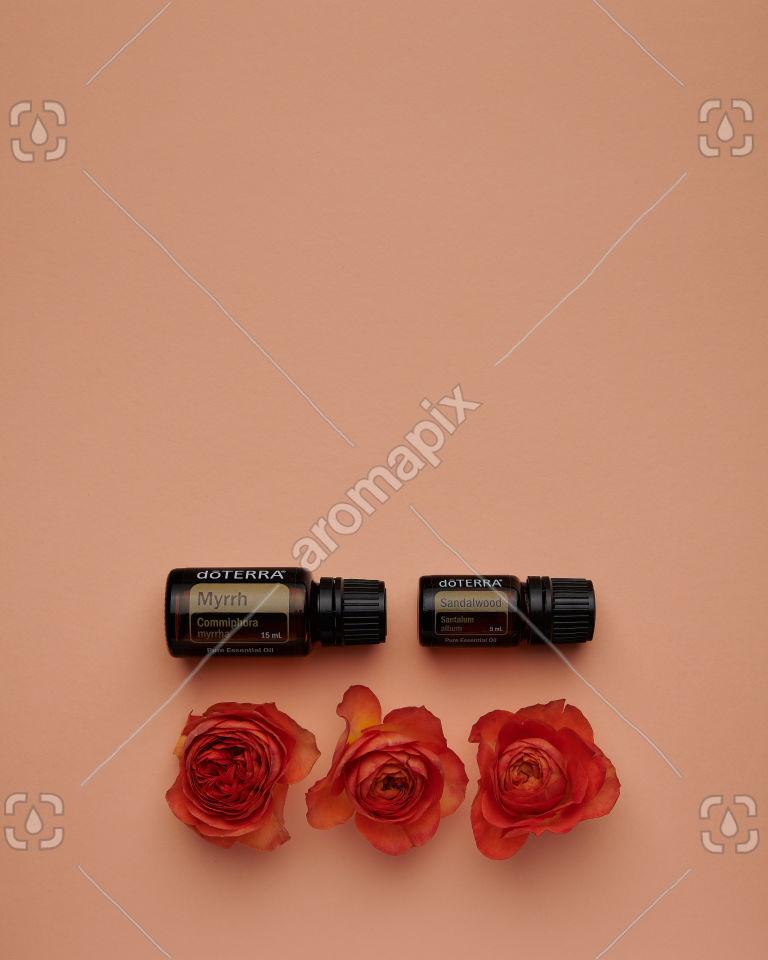 doTERRA Myrrh and Sandalwood with roses on pale orange