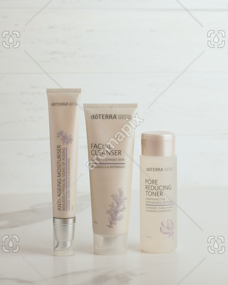 doTERRA Essential Skin Care Anti-Ageing Moisturiser, Facial Cleanser and Pore Reducing Toner on white