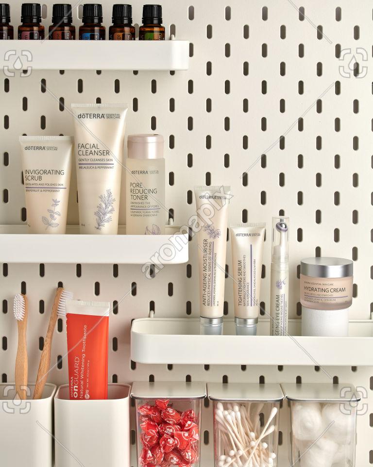 doTERRA Essential Skin Care products on bathroom shelf