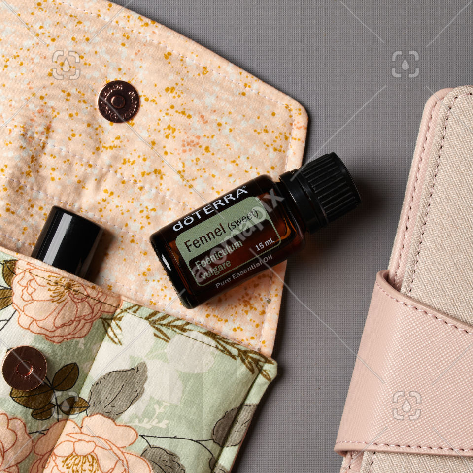 doTERRA Fennel and accessories on gray