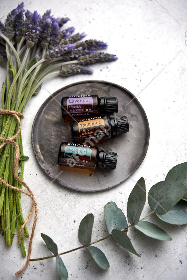 doTERRA Lavender, Tangerine and Eucalyptus with lavender and eucalyptus on white
