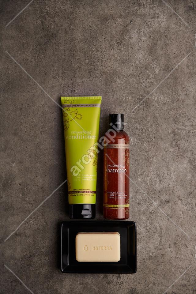 doTERRA Salon Essentials Shampoo and Conditioner on a bathroom bench
