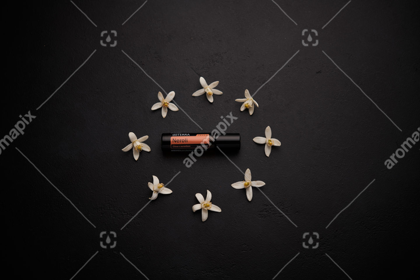 doTERRA Neroli Touch with orange blossoms on black