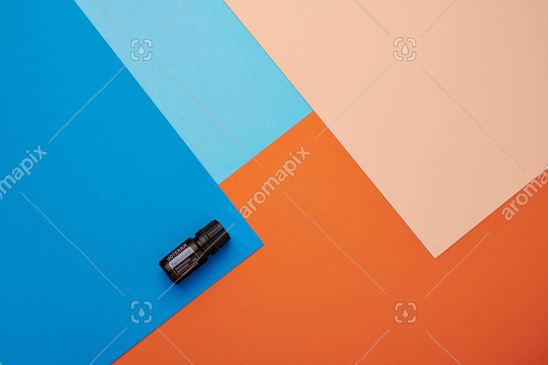 doTERRA Spikenard on a blue and orange background