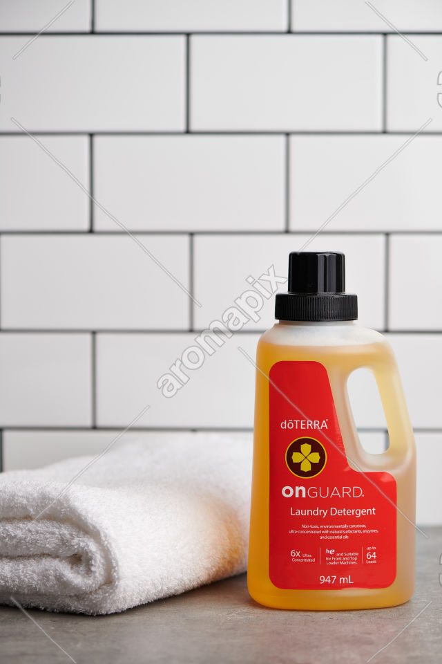 doTERRA On Guard Laundry Detergent on a bench