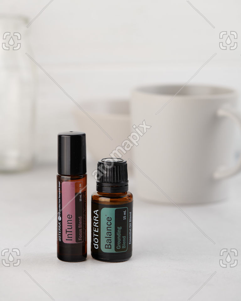 doTERRA InTune and Balance on white