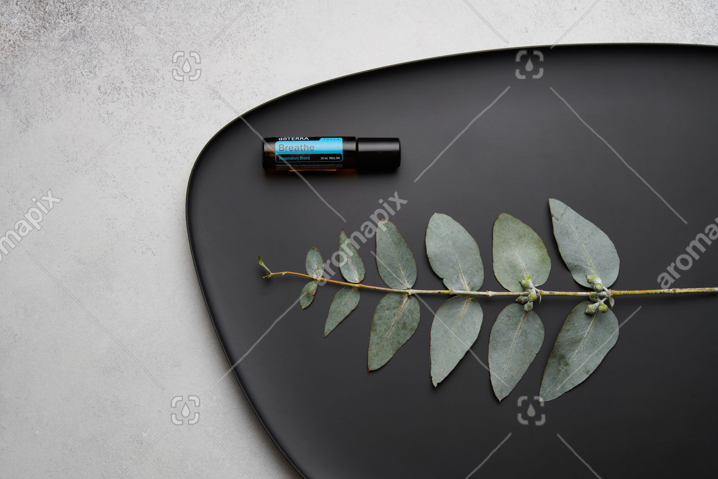 doTERRA Breathe Touch and eucalyptus leaves on black plate