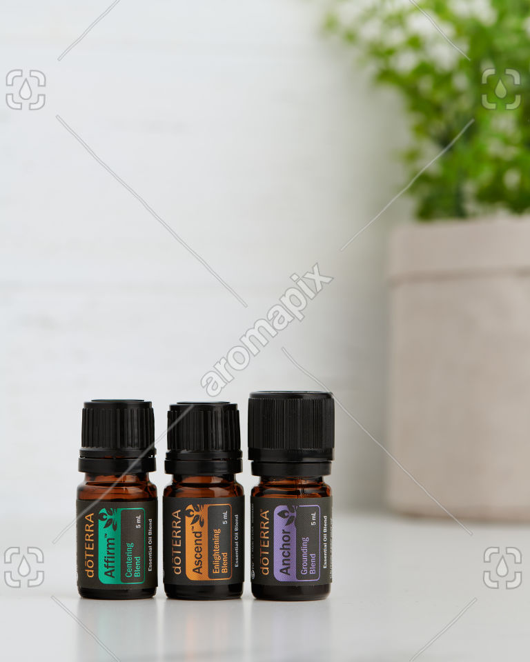 doTERRA Yoga Collection of Affirm, Ascend and Anchor on a benchtop.