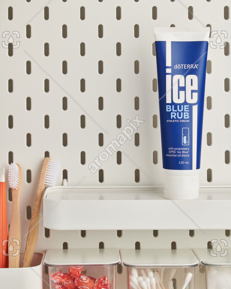 doTERRA Ice Blue Rub in bathroom