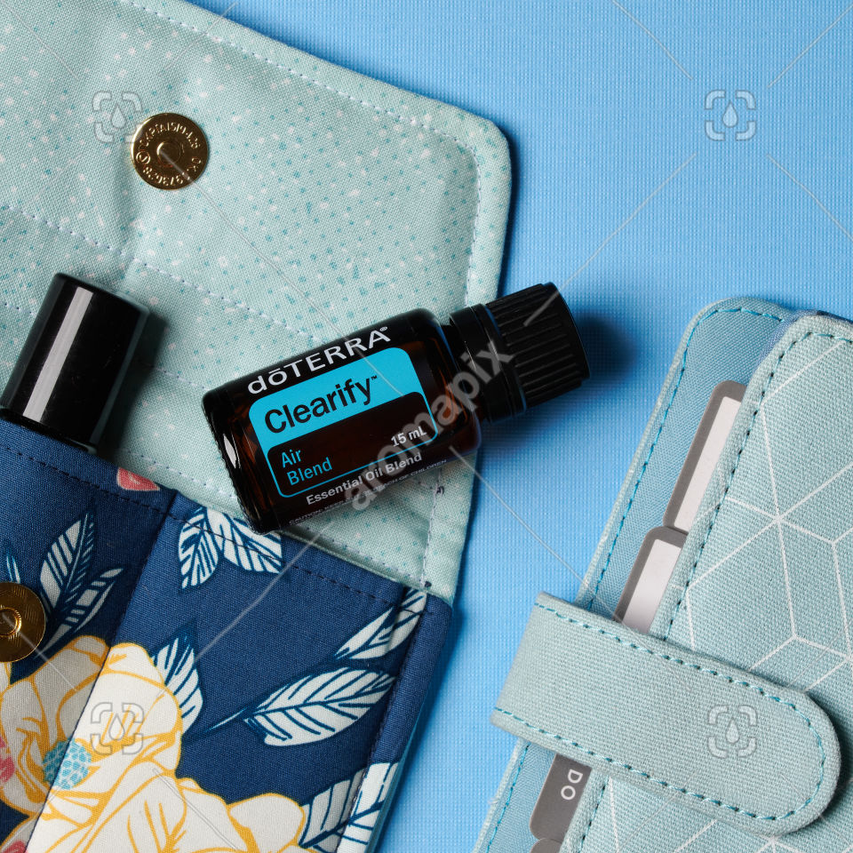 doTERRA Clearify with accessories on blue