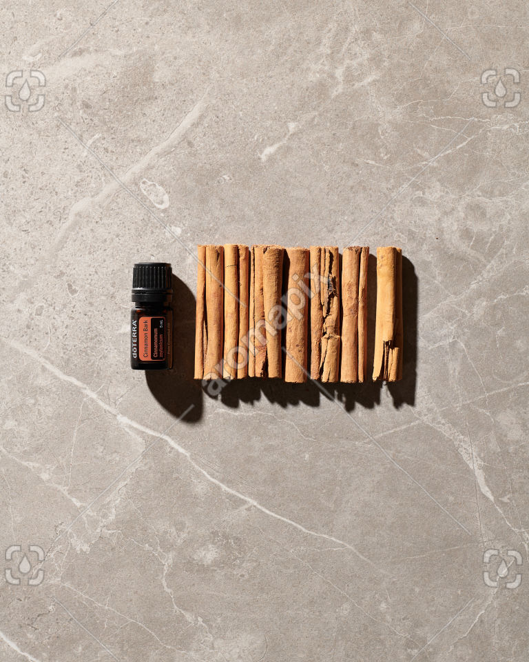 doTERRA Cinnamon Bark and cinnamon sticks on grey tile