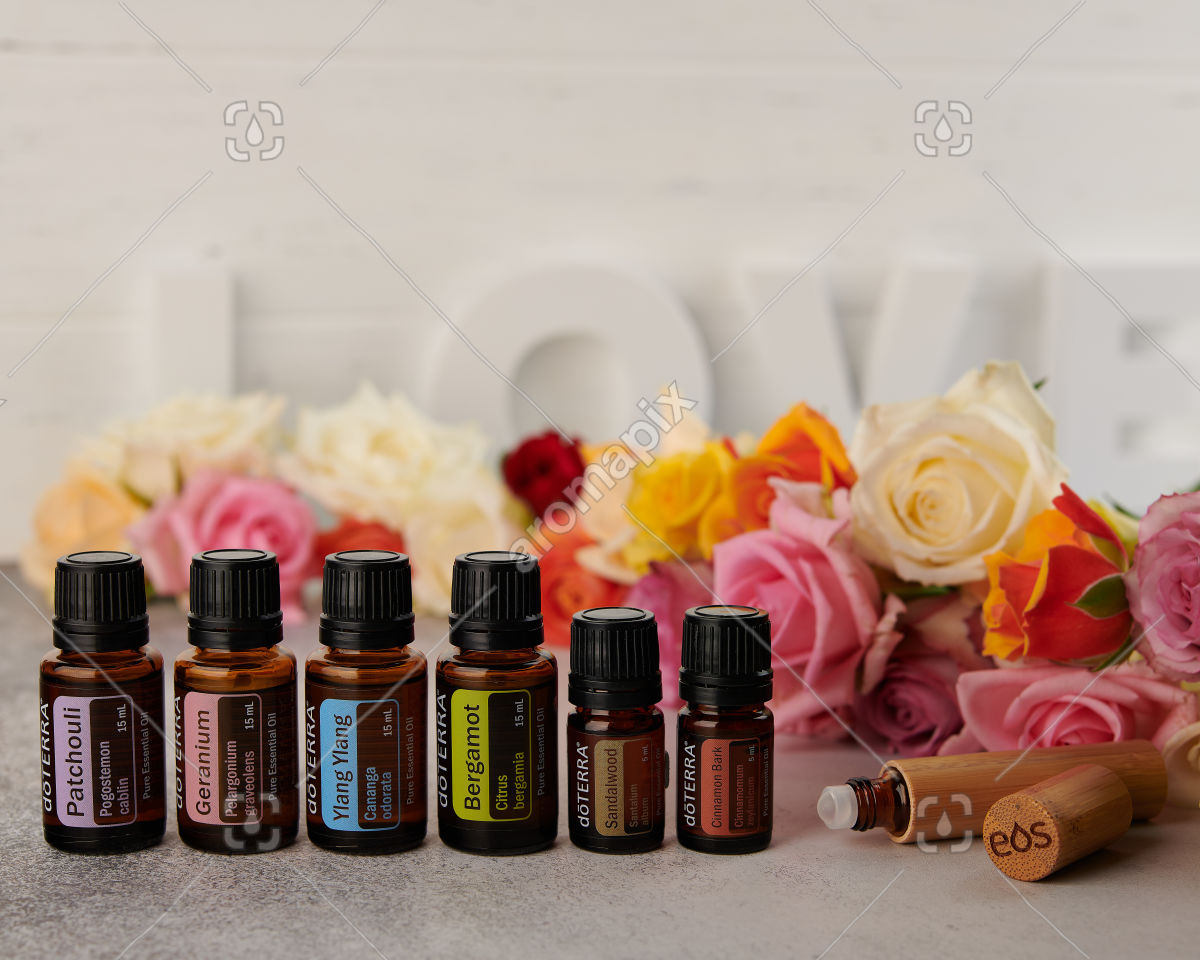 doTERRA Patchouli, Geranium, Ylang Ylang, Bergamot, Sandalwood and Cinnamon Bark with roller bottle on white