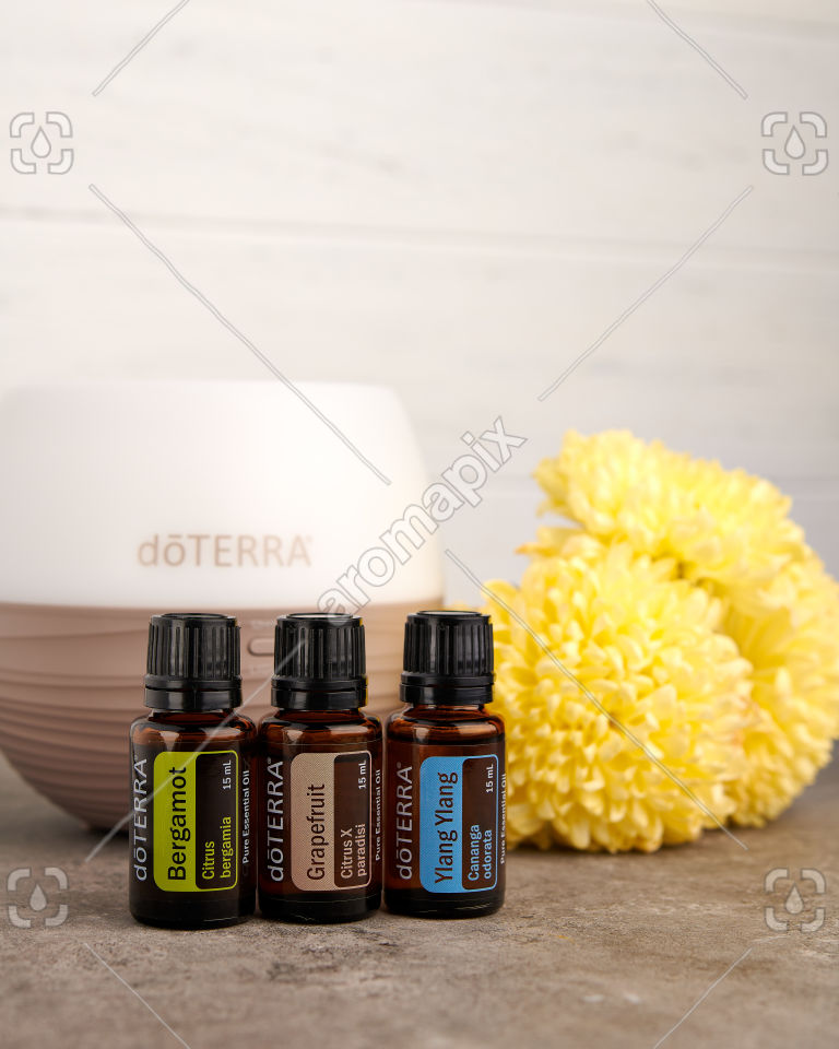 doTERRA Bergamot, Grapefruit and Ylang Ylang with a diffuser and flowers on a bench