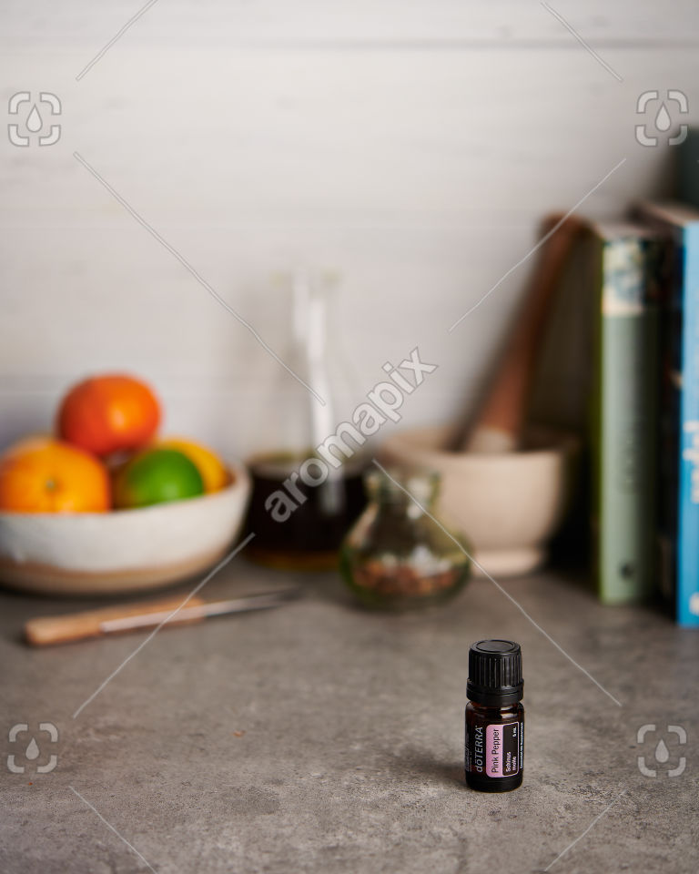 doTERRA Pink Pepper on a kitchen bench
