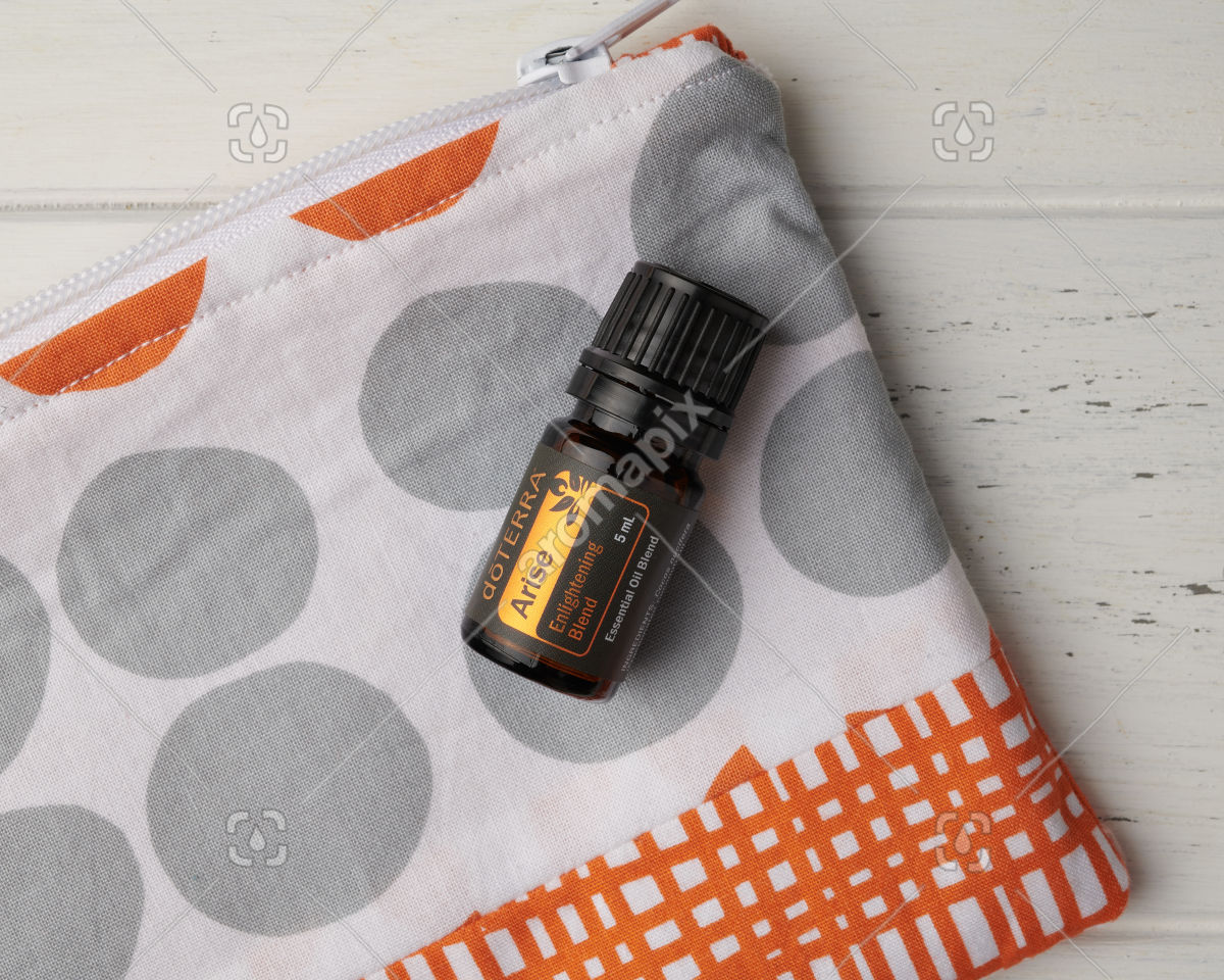 doTERRA Arise in close up with essential oil bag on white
