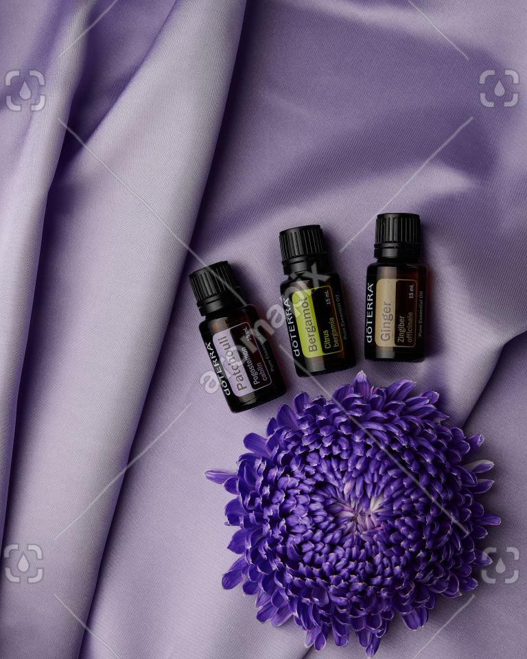 doTERRA Patchouli, Bergamot and Ginger on purple