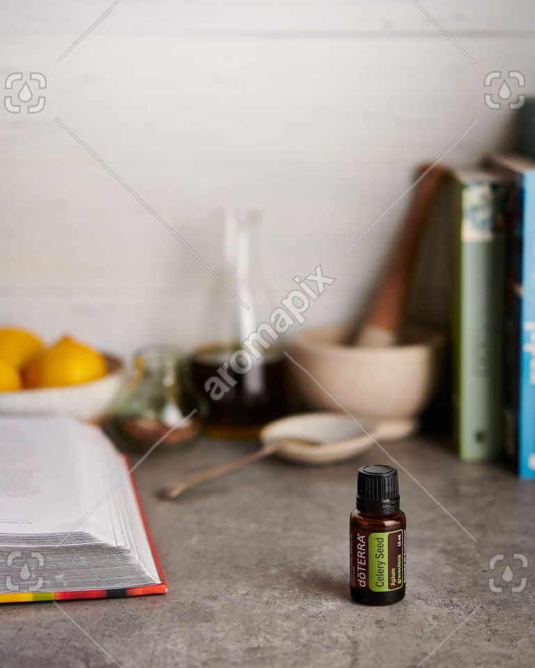 doTERRA Celery Seed on a kitchen bench