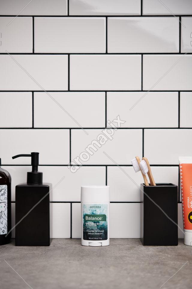 doTERRA Natural Deoderant with Balance on bathroom bench