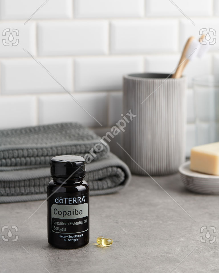 doTERRA Copaiba Softgels in the bathroom