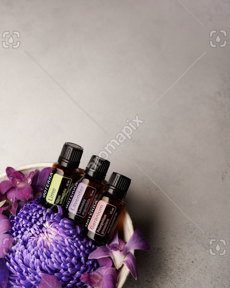 doTERRA Lime, Lavender and Geranium with purple flowers on pale gray