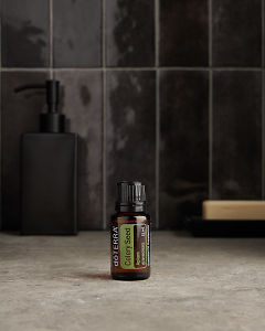 doTERRA Celery Seed on a bathroom benchtop.