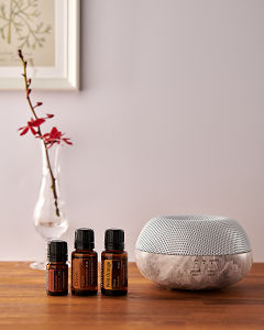doTERRA Brevi Stone diffuser with Cinnamon, Clove and Wild Orange essential oils on a side table.