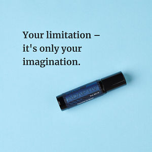 Your limitation – it's only your imagination – inspiration quote about doTERRA Adaptiv printed on a pale blue background.