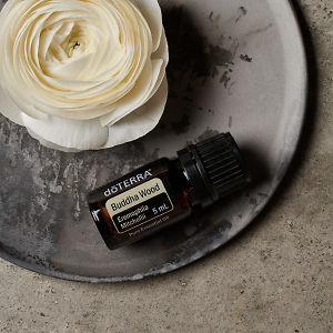 doTERRA Buddha Wood and a white flower on a ceramic plate on a grey stone background.