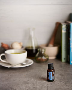 doTERRA Peppermint and a peppermint tea with kitchen items on a gray stone kitchen bench.