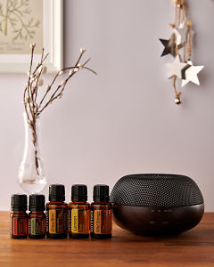 doTERRA Brevi Walnut diffuser with Cinnamon, Douglas Fir, Citrus Bliss, Lemon and Wild Orange essential oils and holiday decorations on a side table.