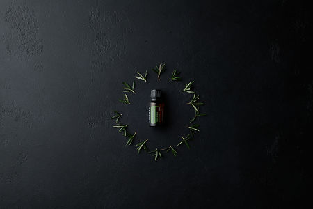 doTERRA Rosemary with a rosemary leaves in a circle  on a black stone background.