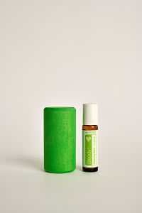 doTERRA Kids Oil Collection roll-on bottle Steady next to a green wooden block.