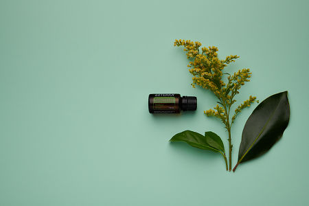 doTERRA TerraShield with flowers and leaves on a pale green  card stock background.