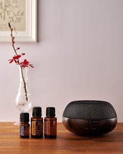 doTERRA Brevi Walnut diffuser with Juniper Berry, Citrus Bliss and Frankincense essential oils on a side table.