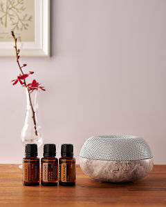 doTERRA Brevi Stone diffuser with Cassia, Cedarwood and Wild Orange essential oils on a side table.