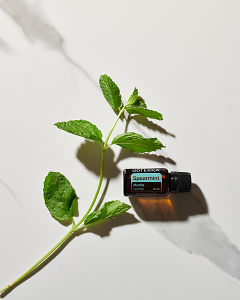 doTERRA Spearmint essential oil and a stem of spearmint leaves in direct sunlight on a white marble background.