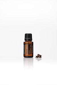 doTERRA Clove with clove buds on a white background with reflection.