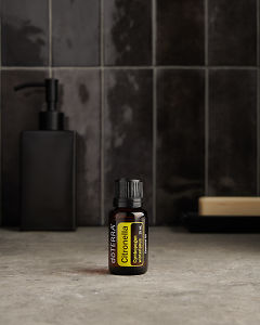 doTERRA Citronella on a bathroom benchtop.