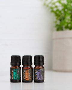 doTERRA Yoga Collection of Align, Arise and Anchor on a white benchtop.