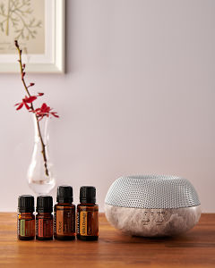 doTERRA Brevi Stone diffuser with Cardamom, Cinnamon, Clove and Wild Orange essential oils on a side table.